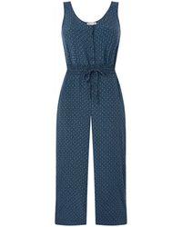 Whistles Quinn Loose Fit Jumpsuit Met Smockwerk En Print - Blauw
