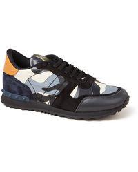 Valentino Rockrunner Sneaker Met Suède Details - Blauw