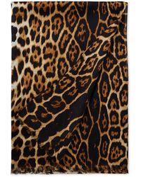 Saint Laurent Sjaal Van Zijde Met Luipaardprint 200 X 70 Cm - Bruin
