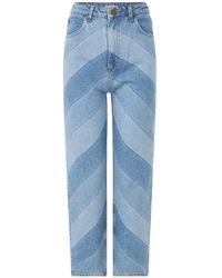 Sandro High Waist Tapered Fit Mom Jeans Met Streepprint - Blauw