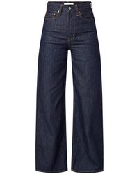 Levi's Ribcage High Waist Wide Fit Jeans Met Donkere Wassing - Blauw