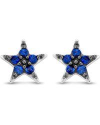 Diamond Point Witgouden Oorsieraden 0-11 Ct Saffier Cosmic - Blauw