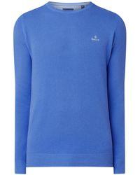 GANT Fijngebreide Pullover Van Piqué Katoen - Blauw