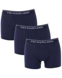 Ralph Lauren Boxershorts Met Logoprint In 3-pack - Blauw