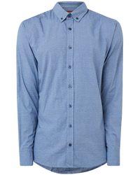 BOSS Mabsoot Slim Fit Overhemd Met Micro Dessin - Blauw