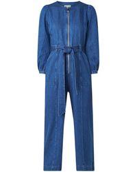 Whistles Estelle Loose Fit Jumpsuit Van Denim - Blauw