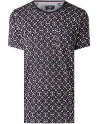 Ted Baker T-shirt Van Katoen Met Borstzak En Dessin - Blauw