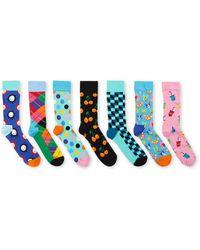 Happy Socks 7-day Sokken Met Print In 7-pack Giftbox - Blauw