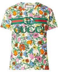 Gucci T-shirt Met Logoborduring En Bloemenprint - Meerkleurig
