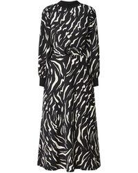 Warehouse Maxi-jurk Met Pofmouw En Ceintuur - Zwart