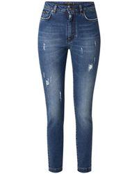 Dolce & Gabbana High Waist Skinny Fit Cropped Jeans Met Medium Wassing - Blauw