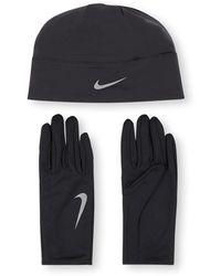 Nike Hardloop Set Met Handschoenen En Muts - Zwart