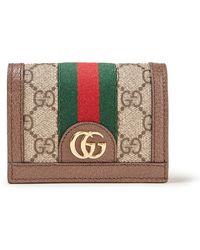 Gucci Ophelia Portemonnee Met Leren Details - Bruin
