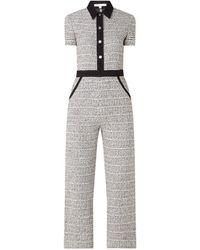 Maje Penala Wide Fit Jumpsuit Van Tweed Met Kraag - Zwart