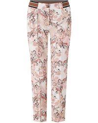 Gerry Weber Mid Waist Slim Fit Cropped Pantalon Met Jacquard Dessin - Roze