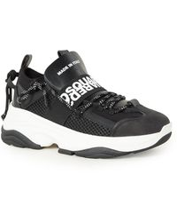 DSquared² D-bumpy One Sneaker Met Kalfsleren Details - Zwart