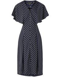 Ted Baker Midi-jurk Met Streepdessin En Volant - Blauw