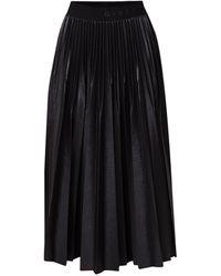 Givenchy Midi Plooirok Met Logoband En Coating - Zwart