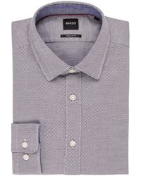 BOSS Lukas Regular Fit Overhemd Met Microdessin - Meerkleurig