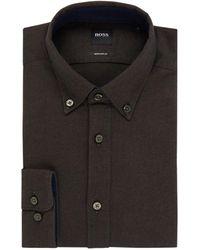 BOSS by Hugo Boss Lod Regular Fit Button Down-overhemd Van Flanel - Zwart