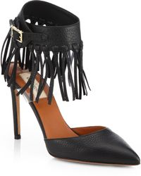 Valentino C-Rockee Leather Fringe Ankle Strap Pumps - Lyst