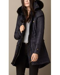Burberry Fur Trim Multiquilt Parka - Lyst