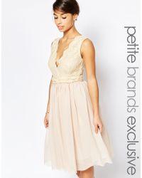 John Zack Plunge Lace Bodice Prom Dress - Natural