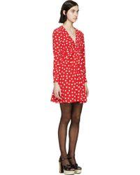 Saint Laurent Red Polka Dot Silk Twist Dress - Lyst