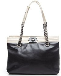 Chanel Pre-Owned Calfskin Large Boy Tote Bag black - Lyst