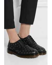 RED Valentino Eyelet-Embellished Leather Lace-Ups - Lyst