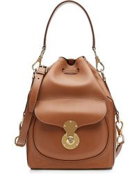 Ralph Lauren Collection Ricky Leather Bucket Bag brown - Lyst
