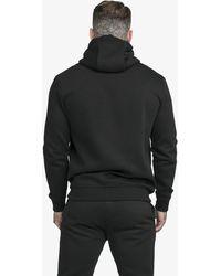 SIKSILK Männer Zip Hoodie Zip Through Funnel Neck - Schwarz