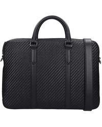 Ermenegildo Zegna Hand Bag In Black Leather