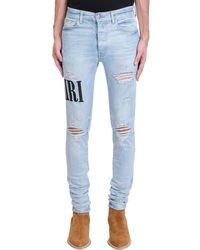 Amiri Jeans Embrodered ami in denim Celeste - Blu