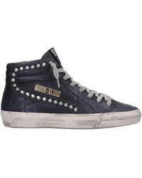 Golden Goose Sneakers Slide in Pelle Nera - Nero