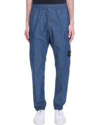 Stone Island Pantalone in Cotone Blu