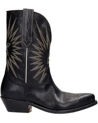 Golden Goose Deluxe Brand Wish Star Texan Ankle Boots In Black Leather