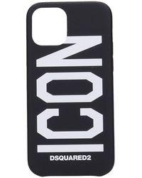 DSquared² Cover iPhone 12 Pro in Silicone Nera - Nero