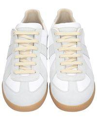 Maison Margiela Sneakers Replica in pelle e camoscio Bianco