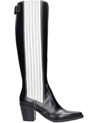 Ganni High Heels Boots In Black Leather