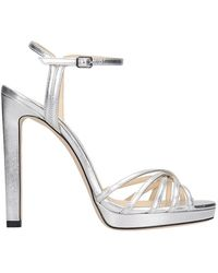 Jimmy Choo - Lilah 120 Sandals In Silver Leather - Lyst