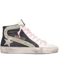 Golden Goose Deluxe Brand Sneakers Slide in Pelle Nera - Nero