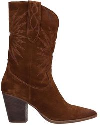Julie Dee Texan Ankle Boots In Leather Color Leather - Brown