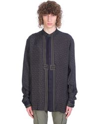 Balmain Shirt In Khaki Polyamide Polyester - Blue