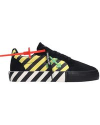 Off-White c/o Virgil Abloh Sneakers Low Vulcanized in Camoscio e Tessuto Nero