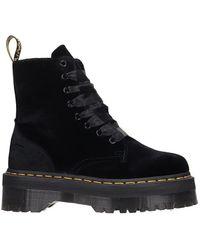 Dr. Martens - Jadon Combat Boots In Black Velvet - Lyst