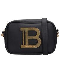 Balmain B-camera Case Shoulder Bag In Black Leather