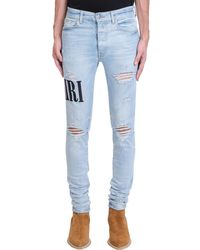 Amiri Jeans Embrodered ami in denim Celeste - Blu