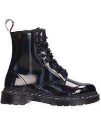 Dr. Martens - Rainbow Combat Boots In Black Pvc - Lyst