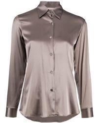 Blanca Vita Silk Satin Shirt - Natural